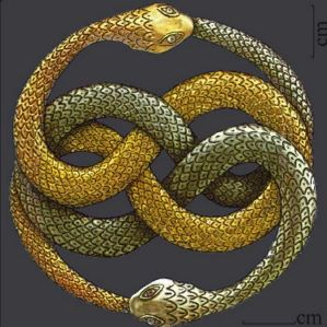 The Ouroboros depicts a snake eating its own tail! Like the ancient symbol of the phoenix, it symbolizes something constantly recreating itself. It sometimes is associated with Gnosticism, an ancient Christian sect.