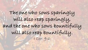 whoever sows generously will reap generously